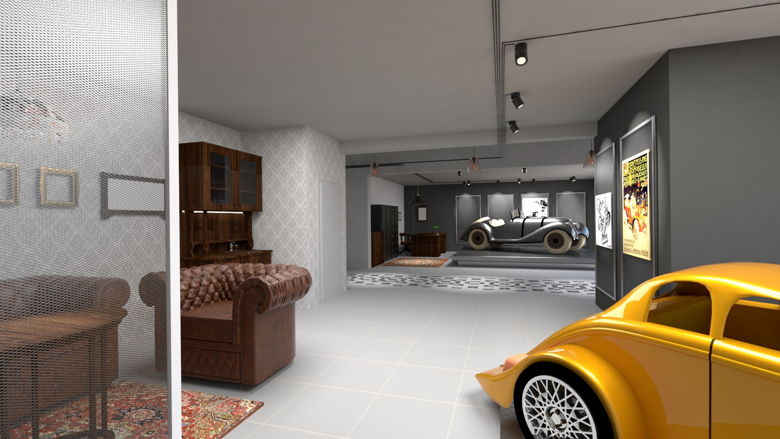 Návrh interiéru kanceláře sběratele aut 1