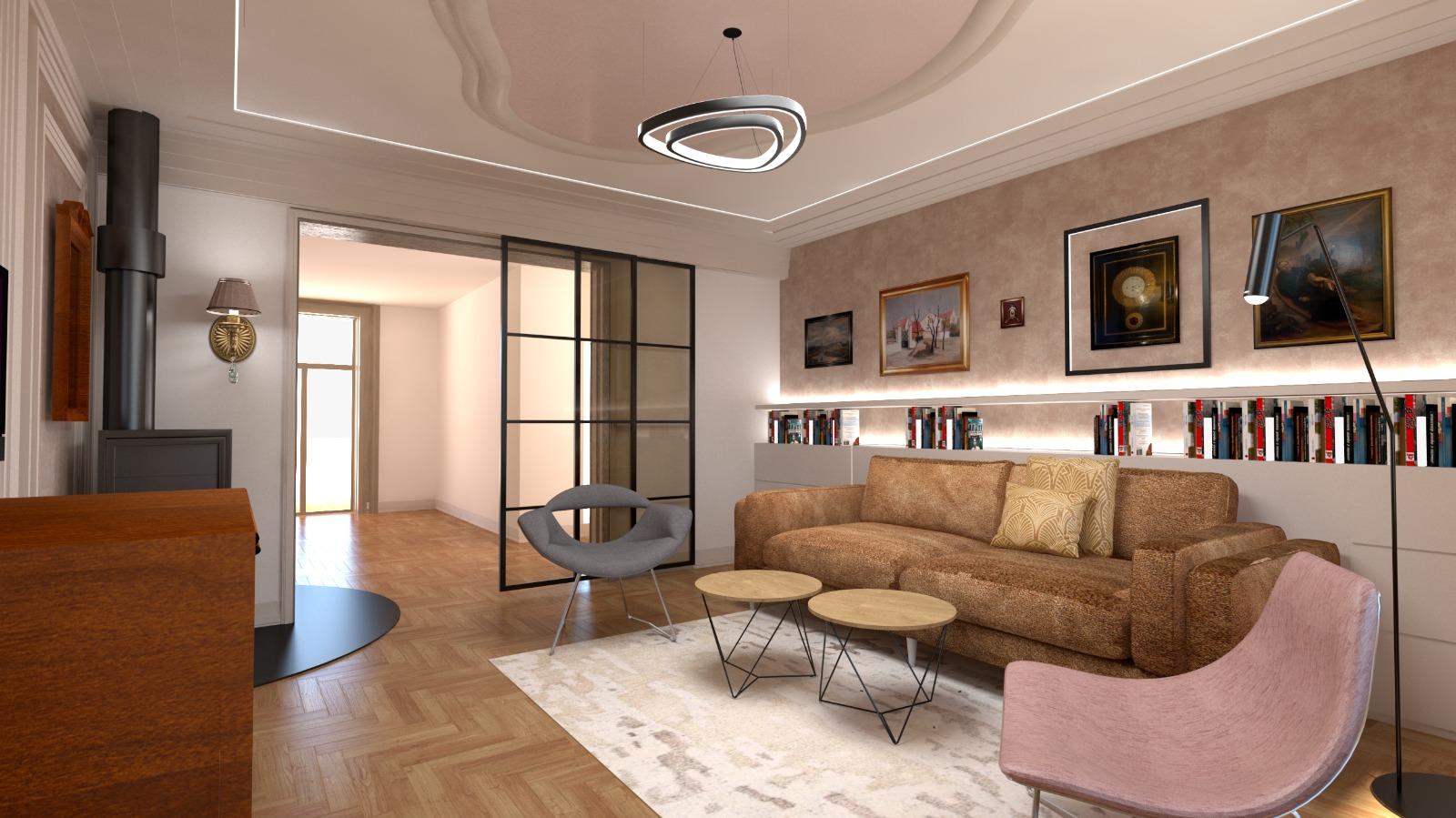 Návrh interiéru luxusního bytu v Praze1