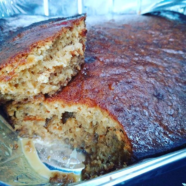 Sticky toffee pudding with South African twist, Malva pudding warm dessert for sharing