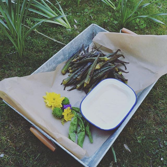 Flame BBQ Wedding canape Grilled Okra