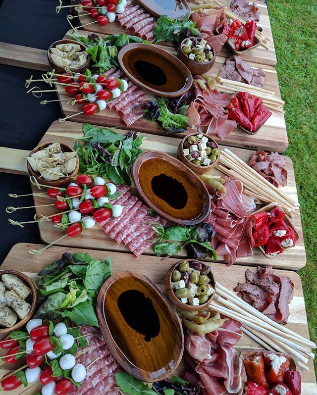 Antipasti sharing boards ready for outdoor Christmas party