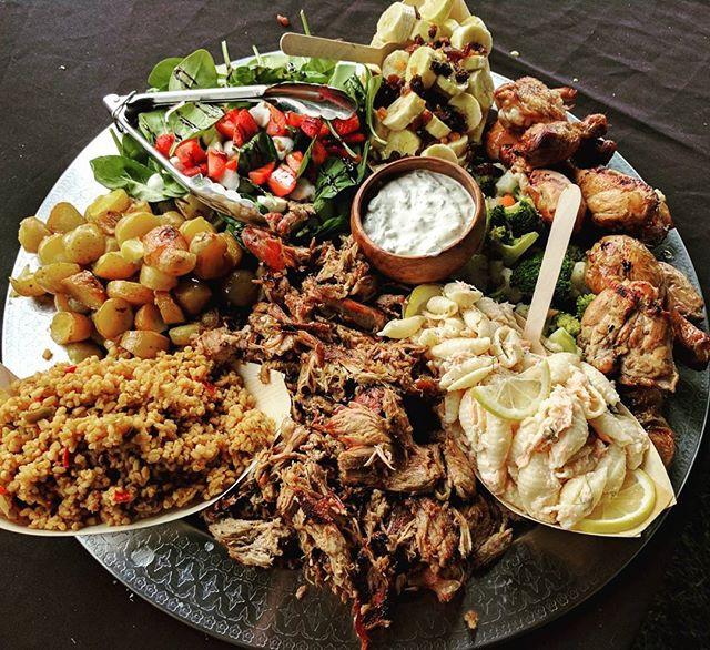 Serve roasted dinner on sharing platters for Christmas dinner party