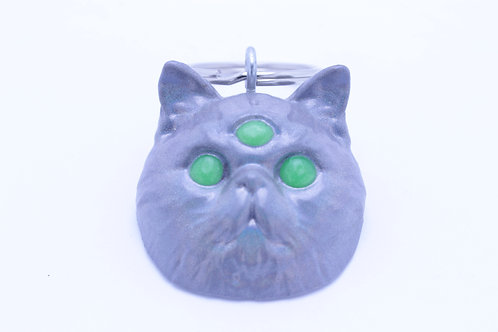 Exotic Shorthair 3 Eyed Resin Cat Keychain - Holographic Grey with Lime Eyes