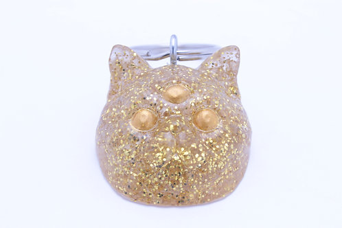 Exotic Shorthair 3 Eyed Resin Cat Keychain - Gold Glitter with Gold Eyes