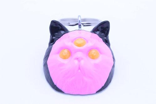 Exotic Shorthair 3 Eyed Resin Cat Keychain - Black & Pink w. Yellow Sparkle Eyes