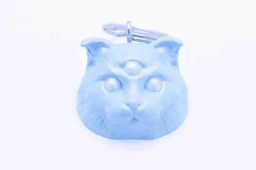Scottish Fold 3 Eyed Resin Cat Keychain - Metallic Blue with Sparkle Eyes
