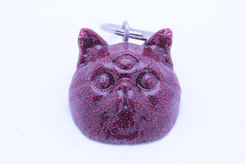 Exotic Shorthair 3 Eyed Resin Cat Keychain - Beady Scarlet