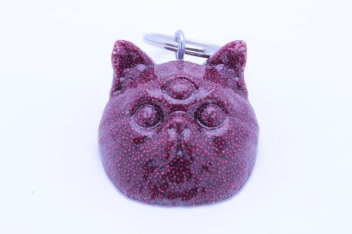 Exotic Shorthair 3 Eyed Resin Cat Keychain - Beady Scarlet