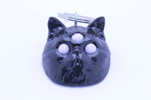 Exotic Shorthair 3 Eyed Resin Cat Keychain - Black with White Eyes