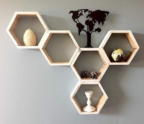 Our hexagon shelf set up beautifully! !  #rusticrecreation #rustic #handmade #irma #rusticrecreation