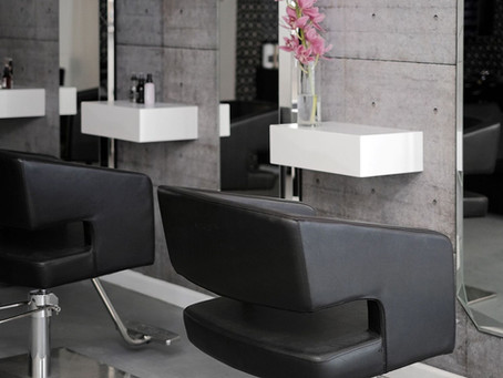 Floating furniture for a hair salon