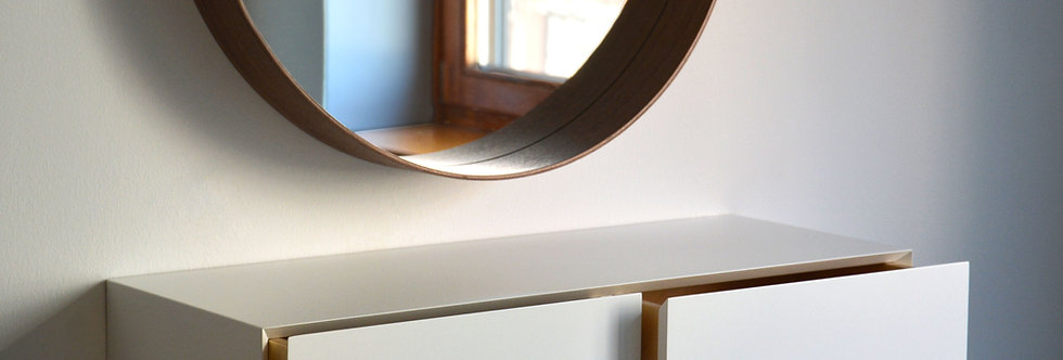 white floating makeup shelf