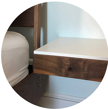 floating bedside table with american walnut drawer