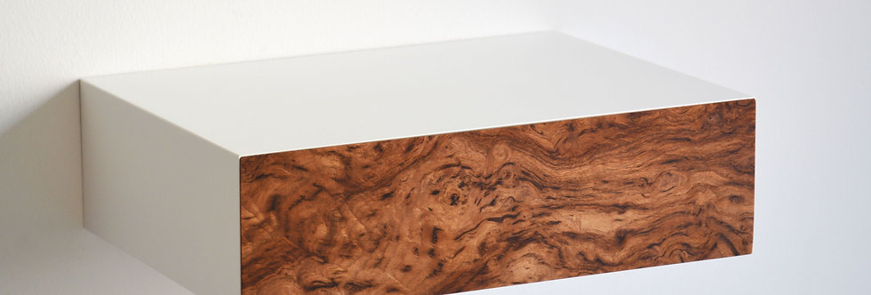 floating bedside table made of chestnut burl