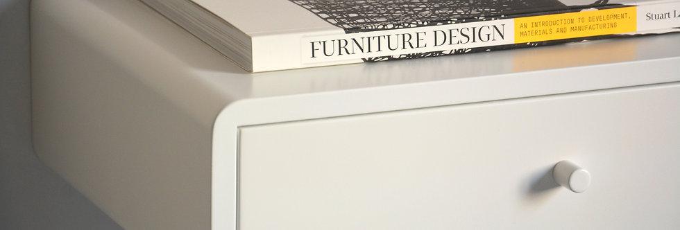 white floating nightstand