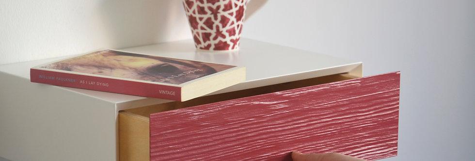 floating bedside table red drawer