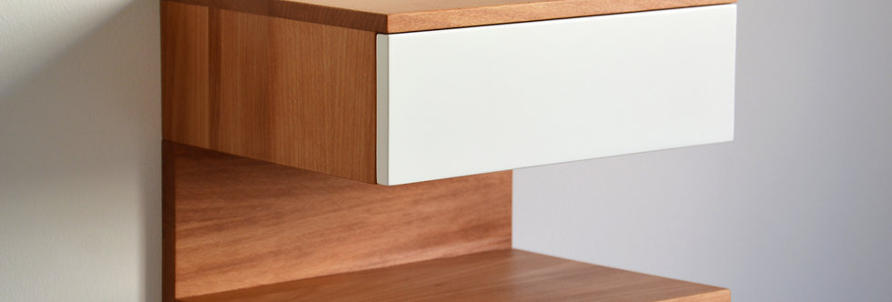 beech floating bedside table