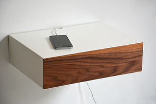 floating bedside table with cable slot