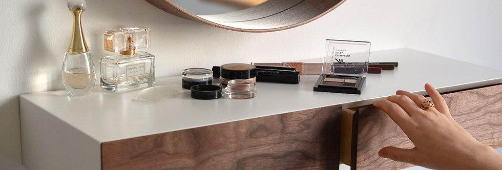 floating makeup shelf with walnut drawer