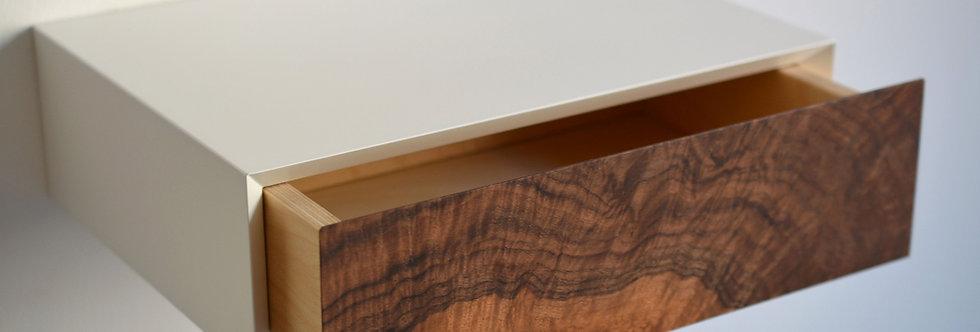 wall-mounted burl bedside table