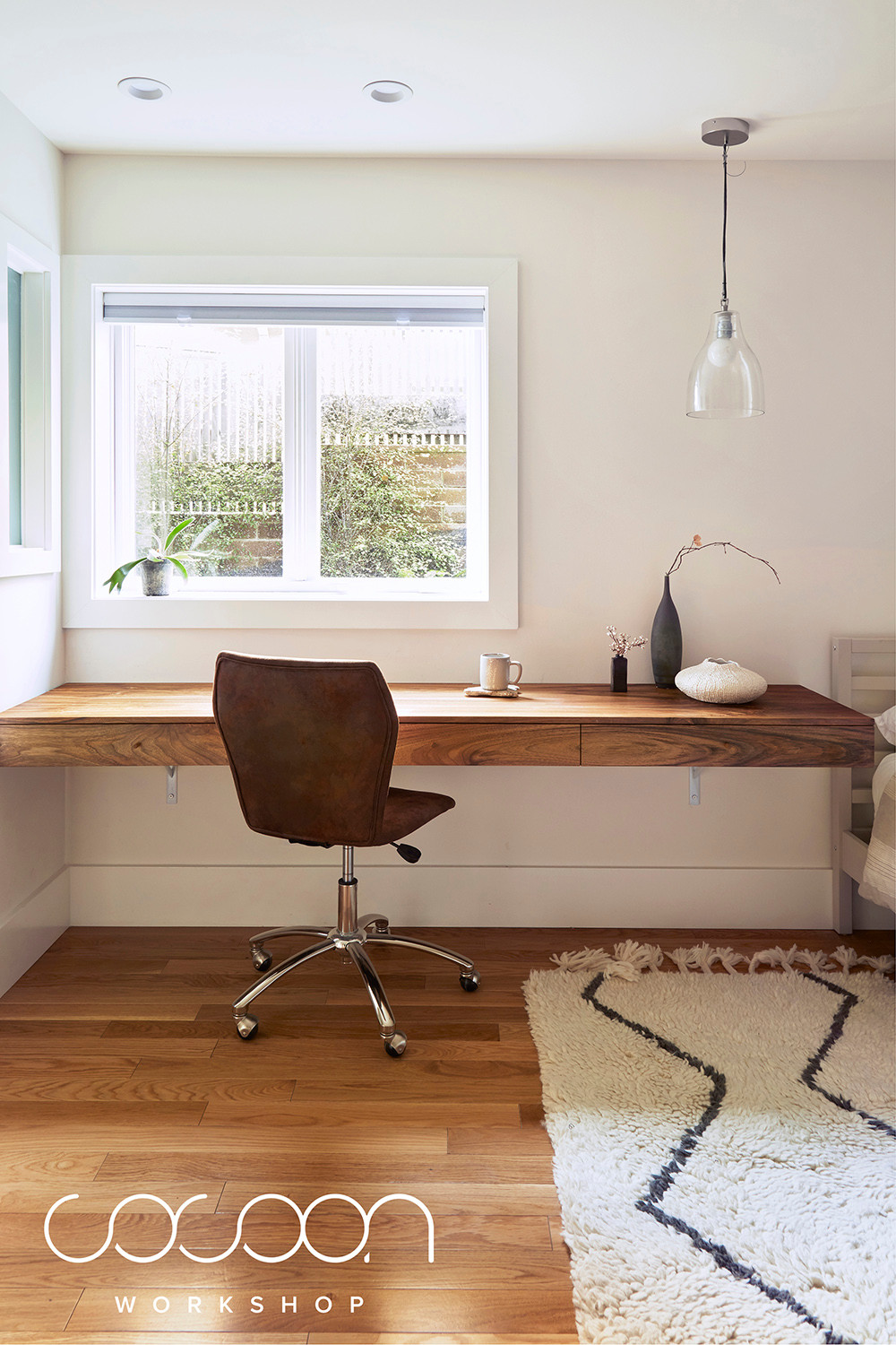 wall-mounted desk as a workspace