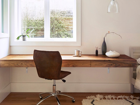 Wall-mounted desk as workspace and nightstand