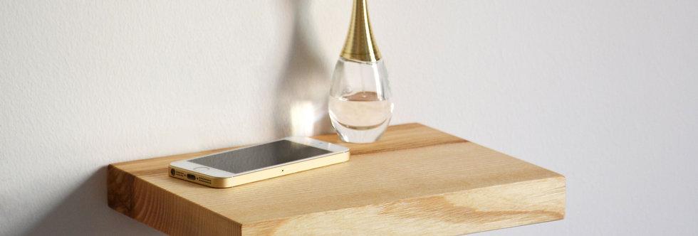 ash floating shelf as bedside table