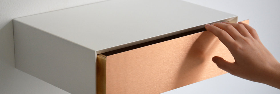 MINIMALIST floating nightstand with COPPER drawer