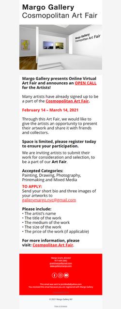 Cosmopolitan Art Fair Email Campaign