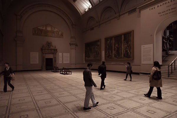 Raphael Cartoons and Strolling Visitors with evening light