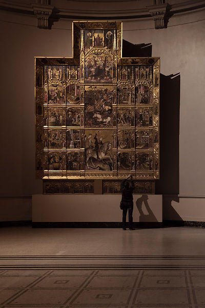 Altarpiece in Victoria Albert Museum and Visitor taking selfie