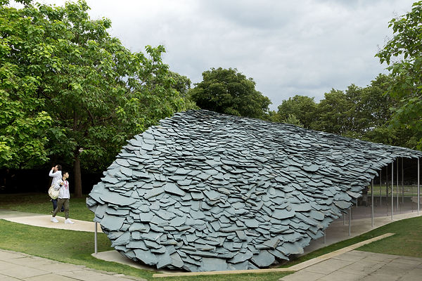 Serpentine Pavilion 2019 by Junya Ishigami slate roof and columns