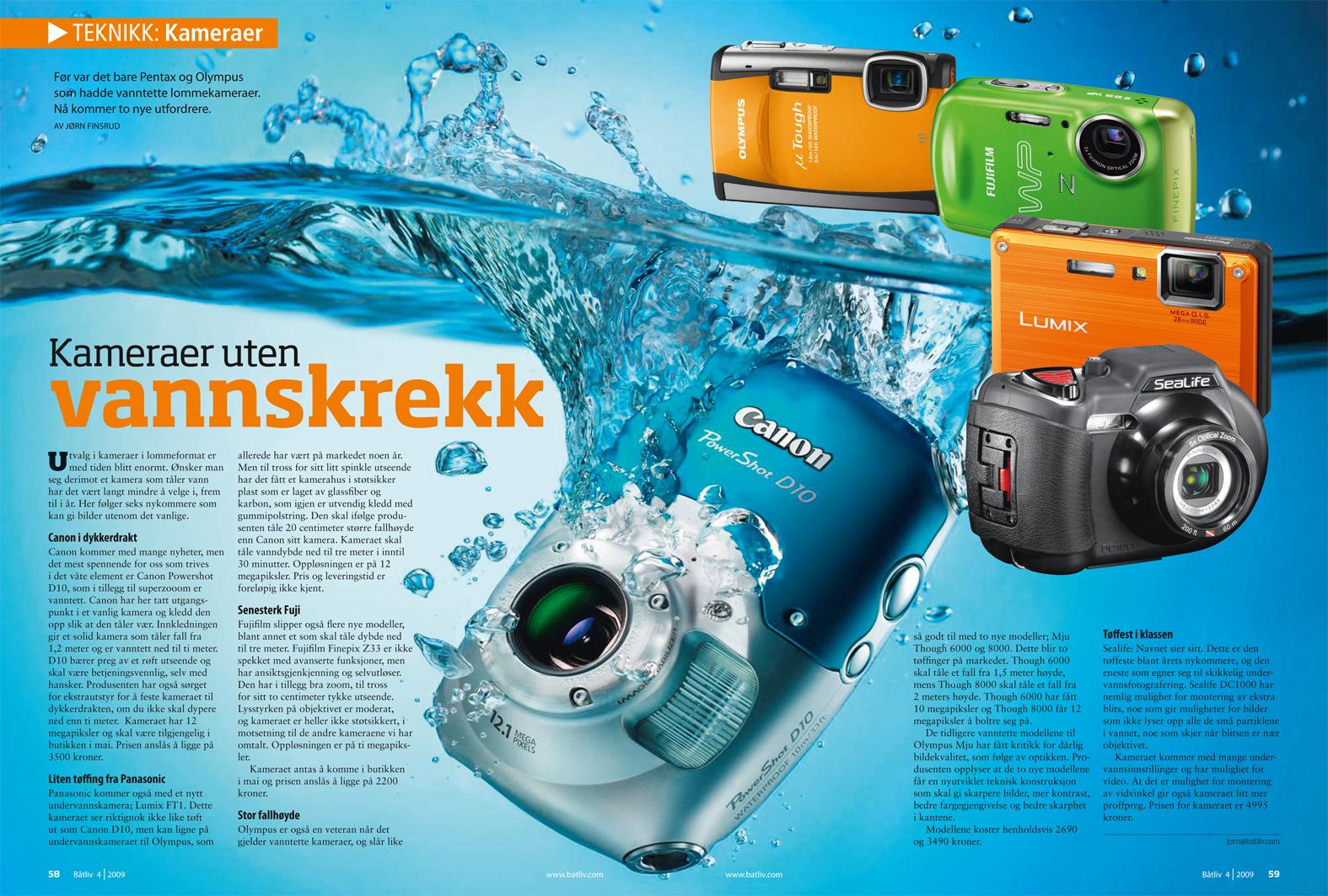 Test av vanntette kameraer