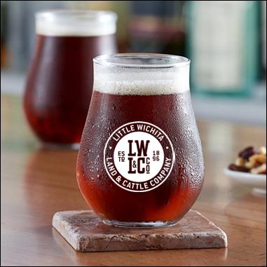 13 ounce Little Wichita Stemless beer glass