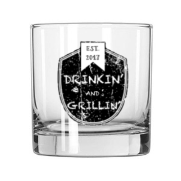 Drinkin & Grillin Whiskey Glass
