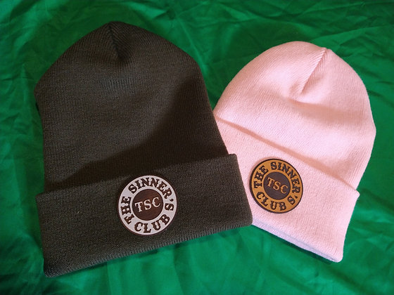 SINNERS Leather Patch Cuffed Beanies