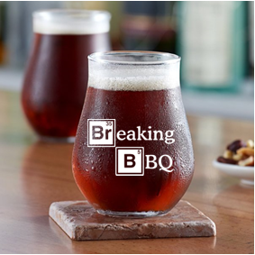 13 ounce  stemless beer or mixer glass (Breaking BBQ)