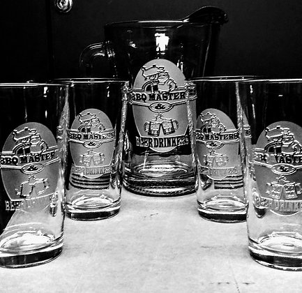 BBQ MASTERS PINT GLASSES SET OF 4 AND PITCHER