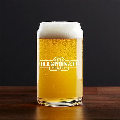 16 oz beer can glass (Illuminati)