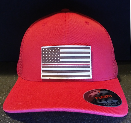 Red LIned Leather engraved Hat