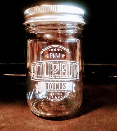 Hounds 10 ounce mason jar glass with lid