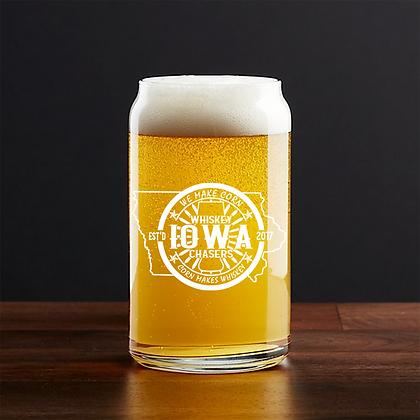 16 oz beer can glass (iowa)