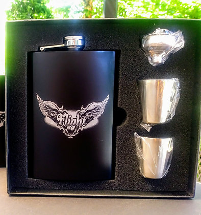 Flask set includes 2 shot glasses and funnel