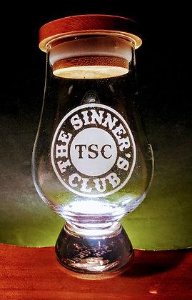 SINNERS 6 OUNCE GLENCAIRN GLASS optional cap