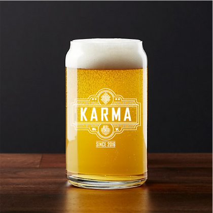16 oz beer can glass (KARMA)
