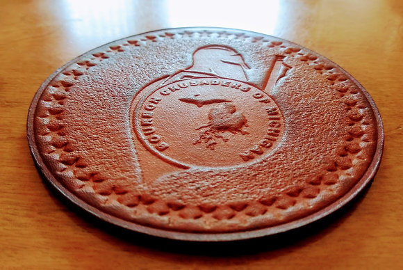 Embossed Leather Coasters (Crusaders)SET OF 2