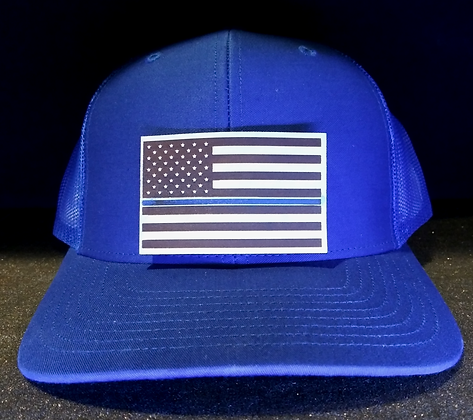 Blue LIned Leather engraved Hat
