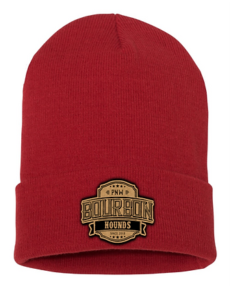 Leather Patch Cuffed Beanies