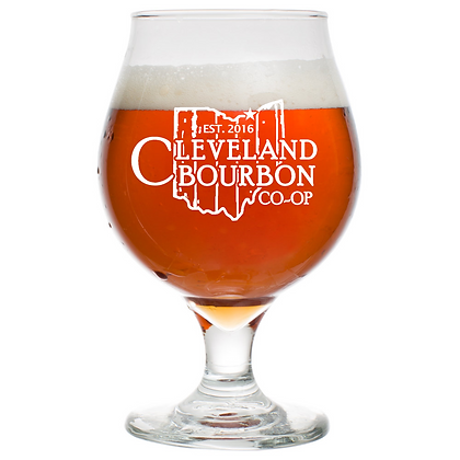 16 oz tulip beer glass (CLEVELAND)