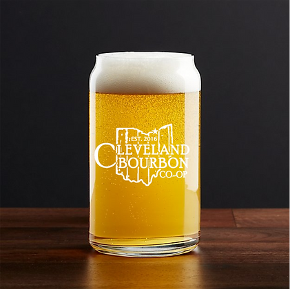 16 oz beer can glass (CLEVELAND)